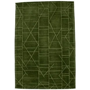 Elvin Geometric Hand-Tufted Wool Forest Green Area Rug