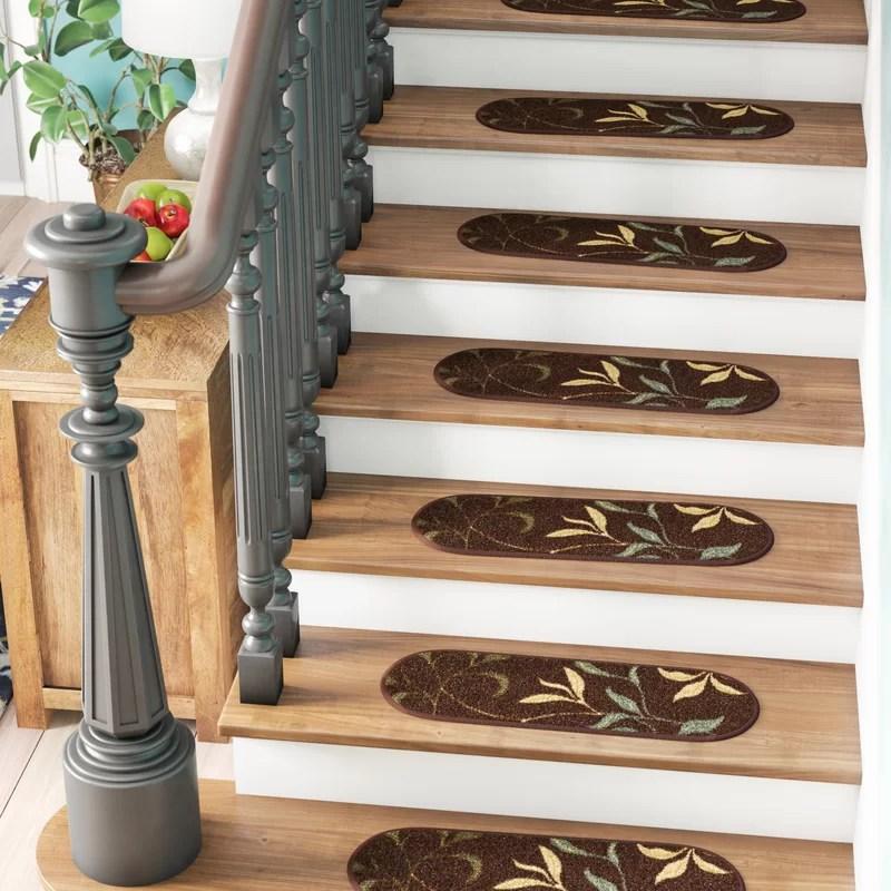 Winston Porter Arette Leaf Oval Brown Stair Tread Reviews Wayfair   Wayfair Carpet Runners For Stairs   Stair Treads   Stair Rods   Area Rug   Wool Rug   Treads Carpet