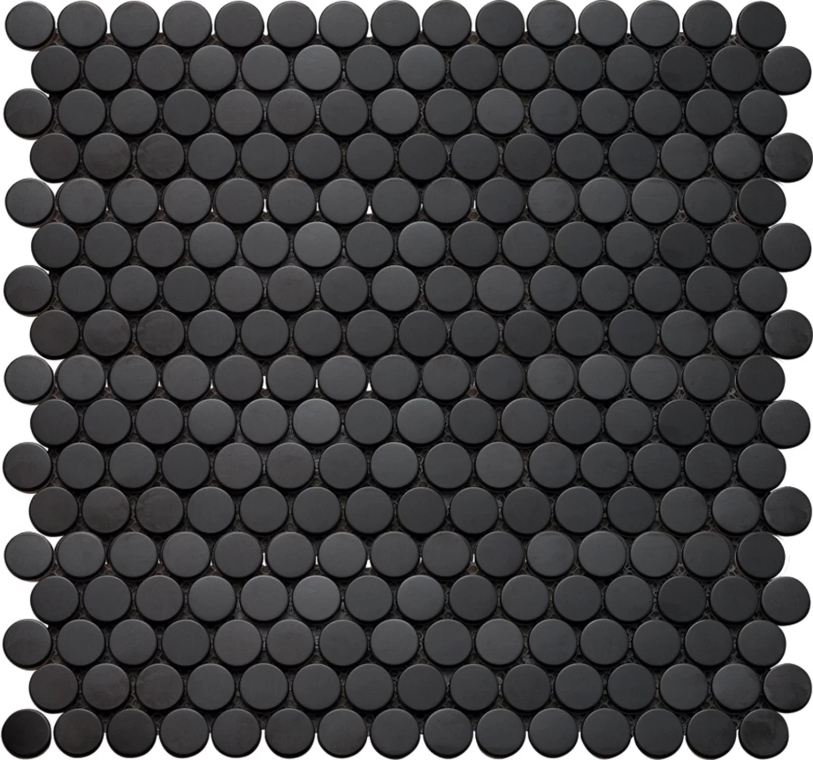 inox penny round glass mosaic tile in black