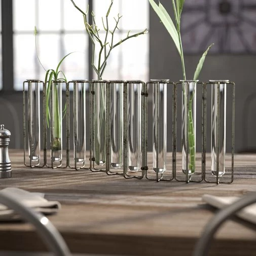 Doucet Metal and 9 Glass Test Tubes Jointed Vase