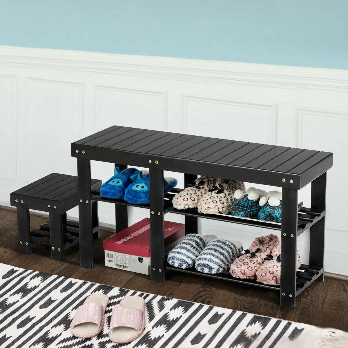 Latitude Run Bamboo Shoe Rack Bench With Stool Entryway 3 Tier Storage Organizer Black Reviews Wayfair