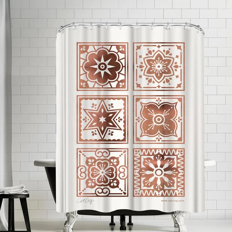 cat coquillette talavera mexican tile hot shower curtain