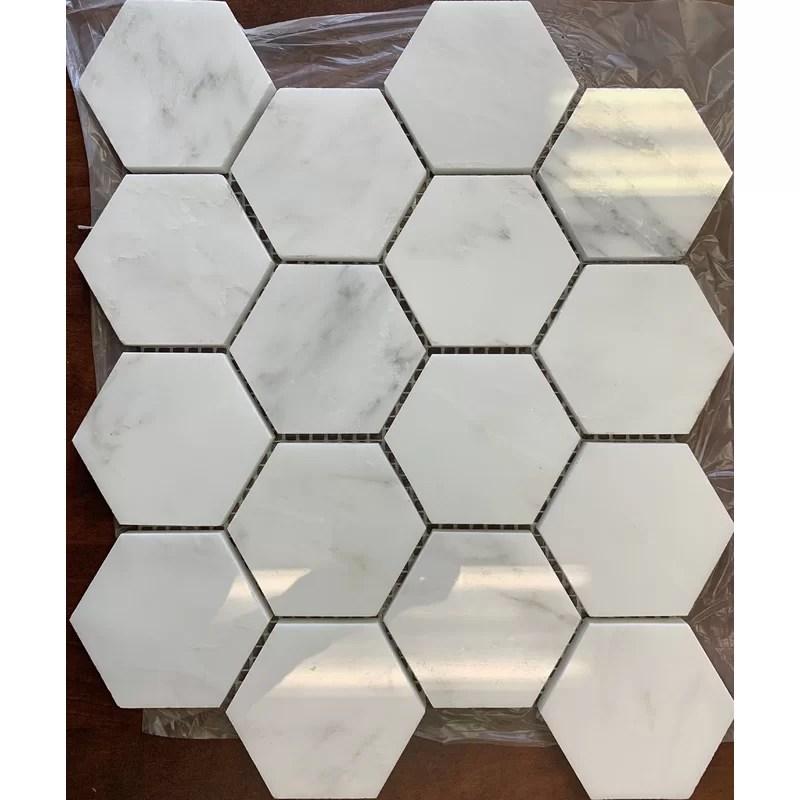 alps hexagon 10 x 11 5 marble mosaic tile