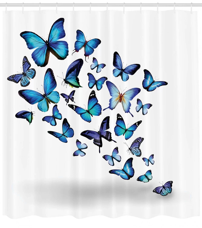 butterflies shower curtain set hooks