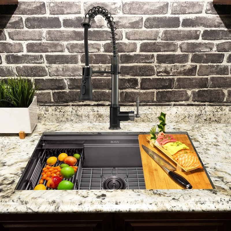 all in one gunmetal matte black finished stainless steel 33 in x 22 in undermount kitchen sink with spring neck faucet