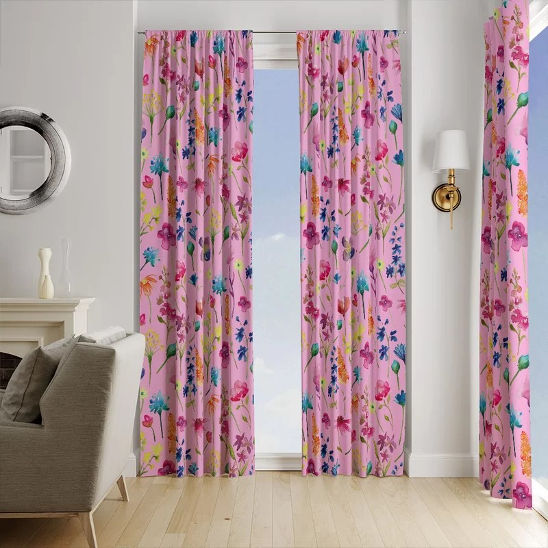 pink floral window curtain panels