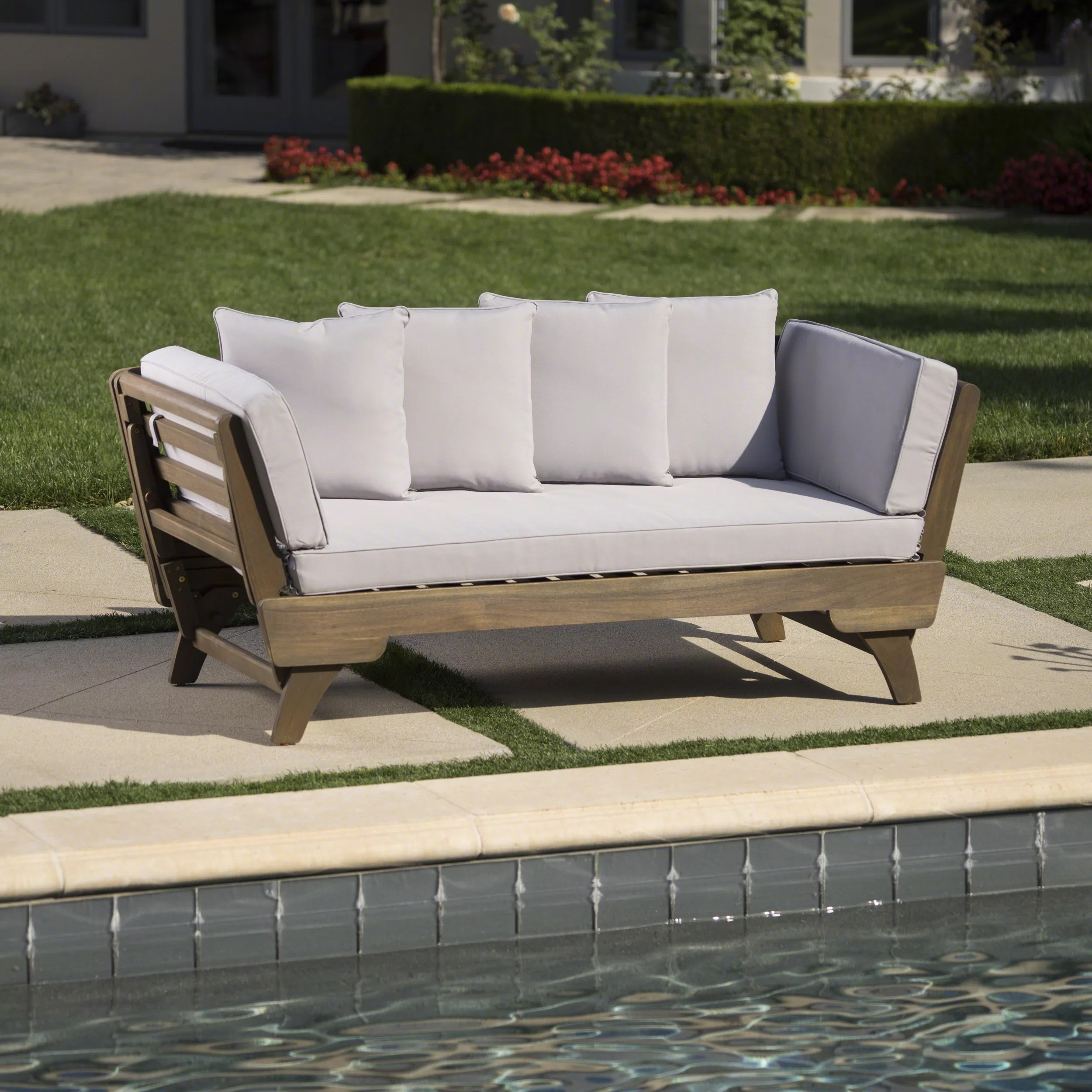 union rustic ellanti outdoor patio daybed with cushions reviews wayfair ca