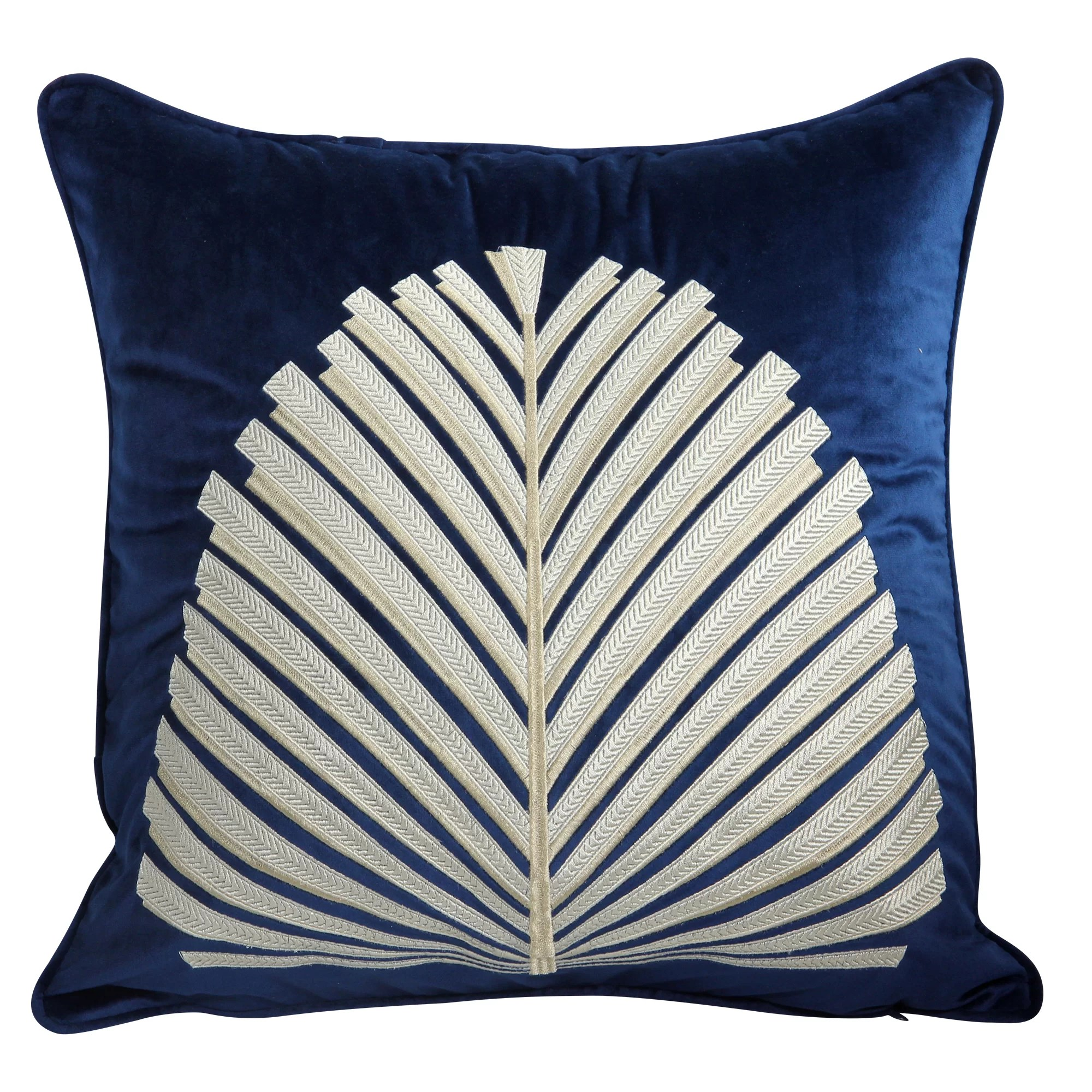 cornett high quality embroidered fan velvet throw pillow cover