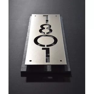 stainless steel and slate 1 line wall address plaque