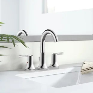 trinsic widespread bathroom faucet with drain assembly and diamond seal technology