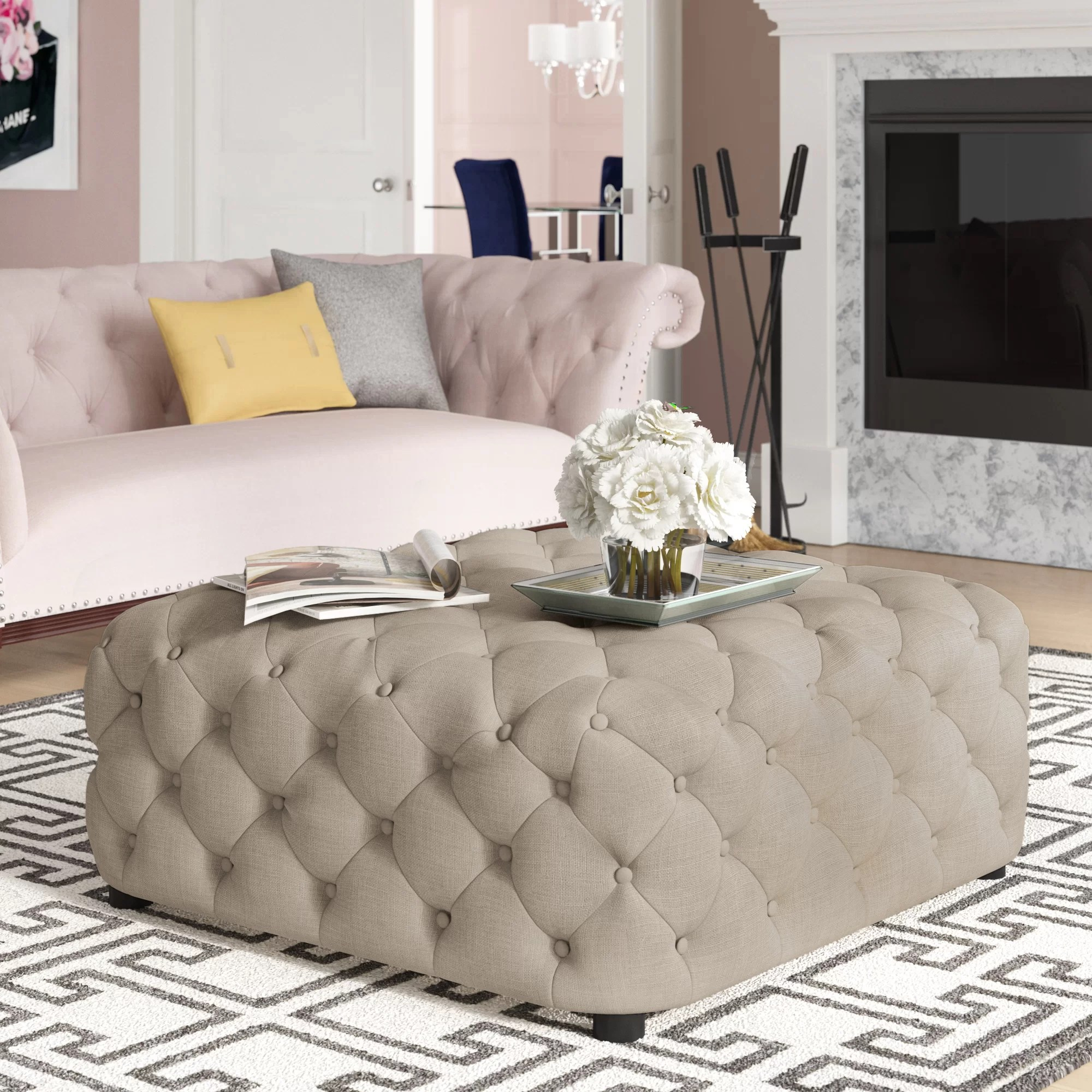 newman square tufted cocktail ottoman