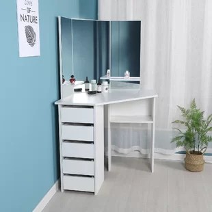 cormier corner makeup vanity with mirror