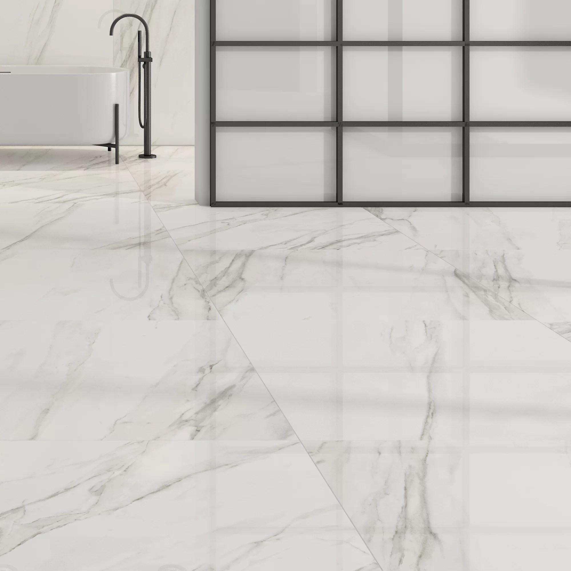 calacatta white gloss floor tiles grey