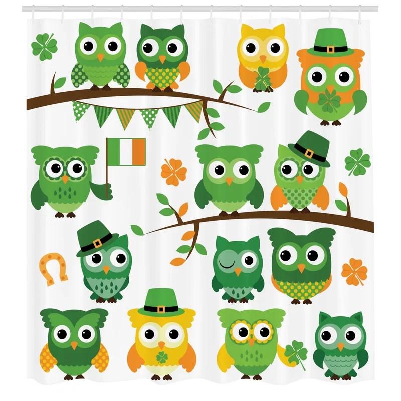 st patrick s day irish owls with leprechaun hats on trees shamrock leaves horseshoe single shower curtain