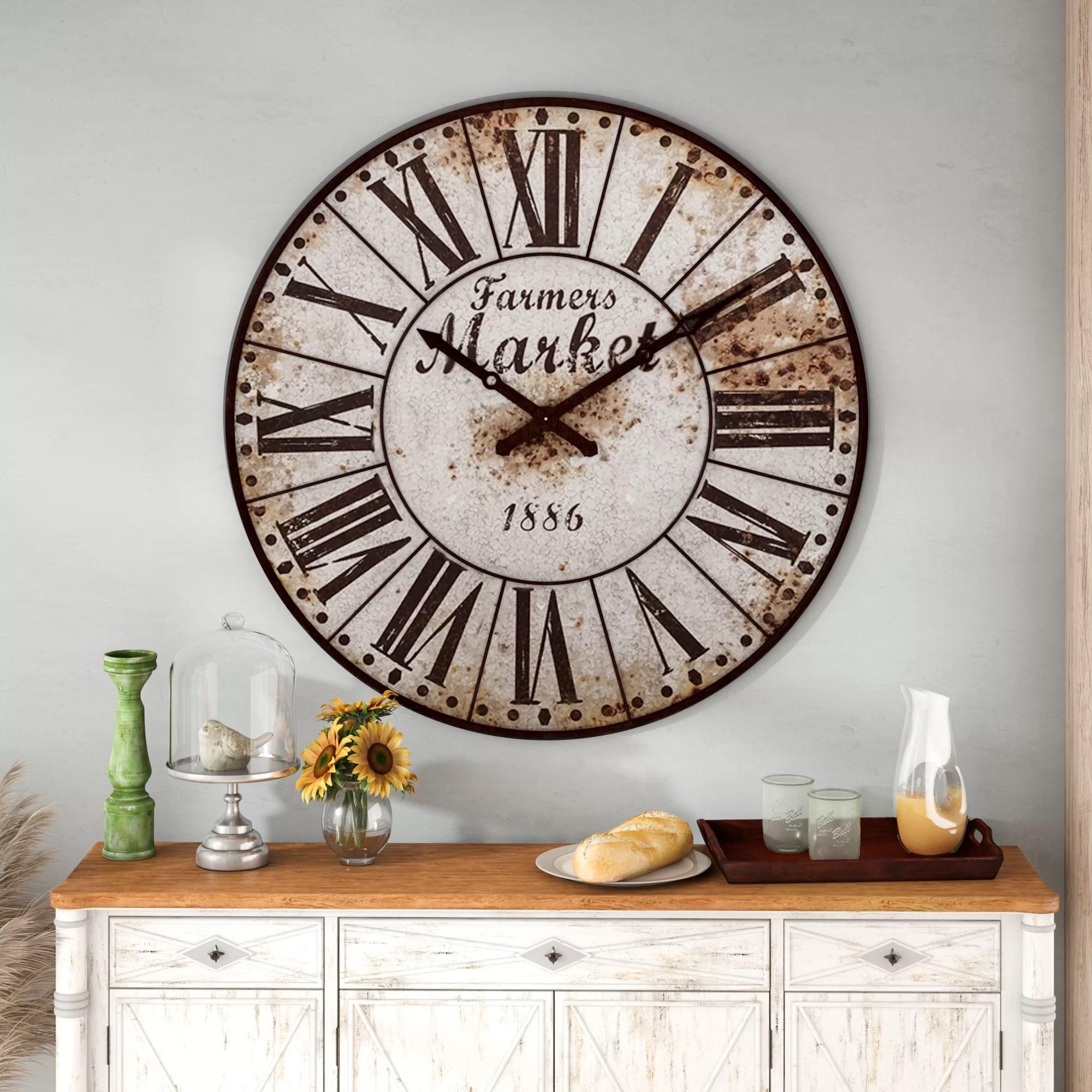 Rosalind Wheeler Oversized 47 Wall Clock Reviews Wayfair