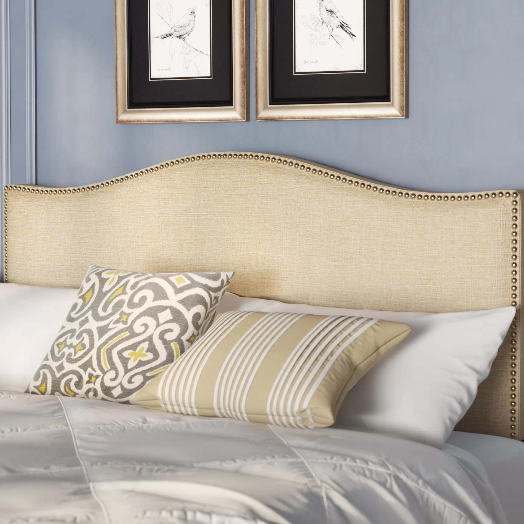 Charlton Home Bransford Curl Upholstered Headboard   Reviews   Wayfair
