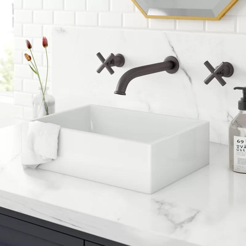 bristol ceramic rectangular 410 mm countertop basin