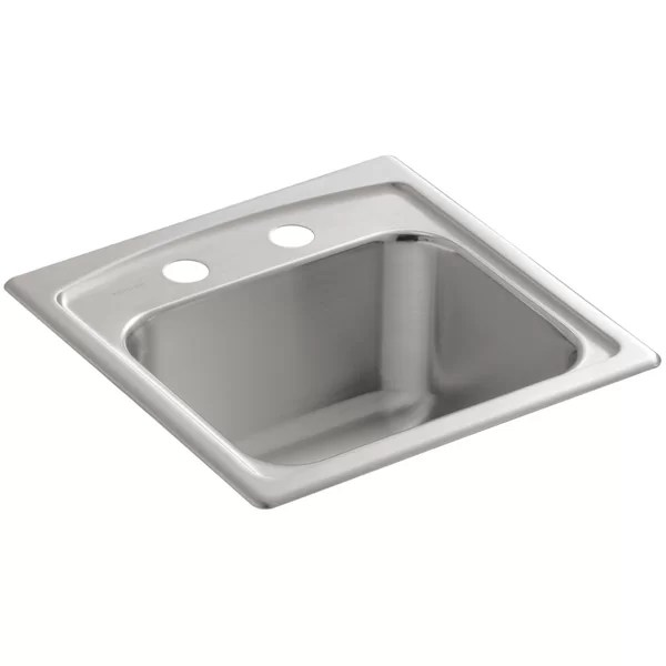 toccata top mount bar sink with 2 faucet holes