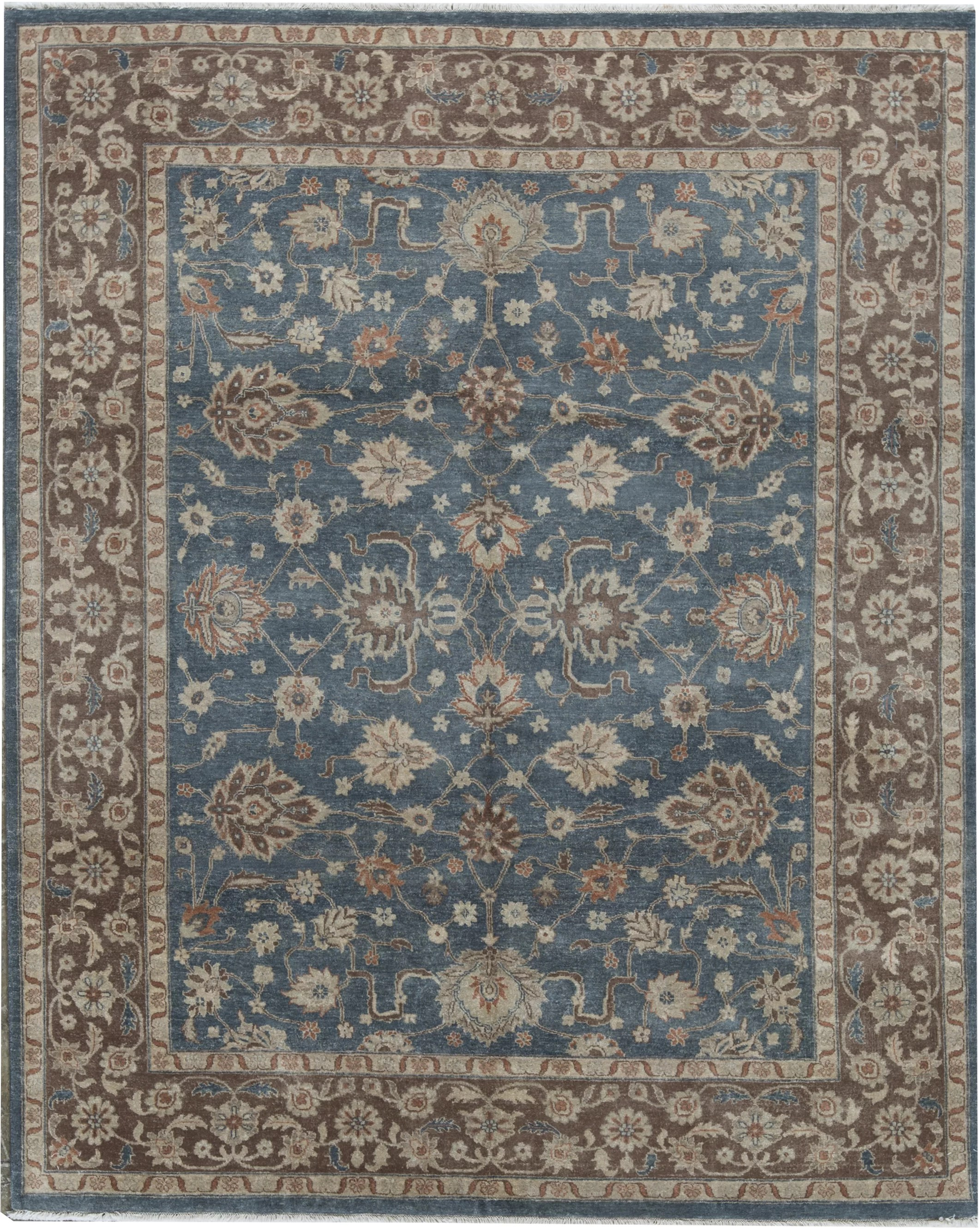 cornwall oriental hand knotted 8 x 10 wool blue brown area rug