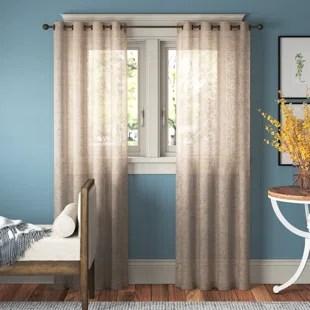 aleksander solid color semi sheer grommet curtain panels set of 2