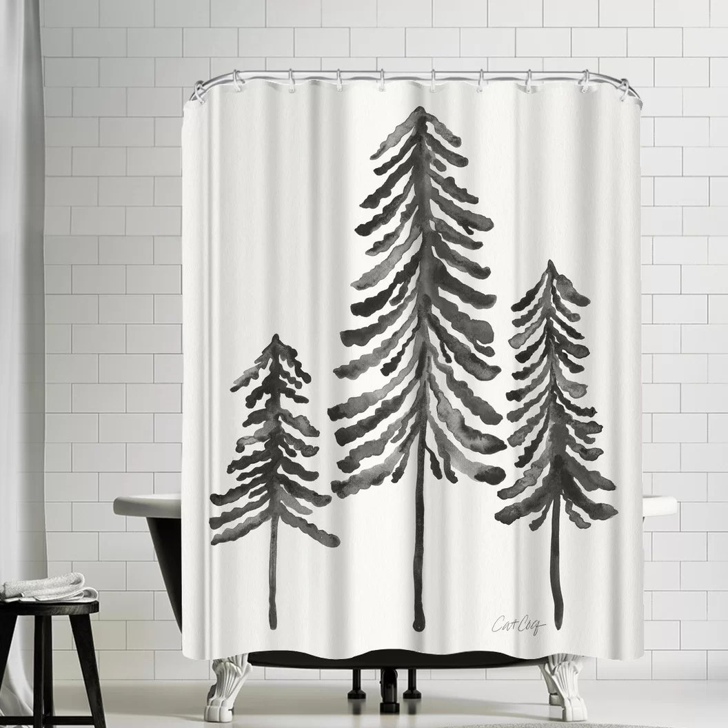 cat coquillette pine trees shower curtain
