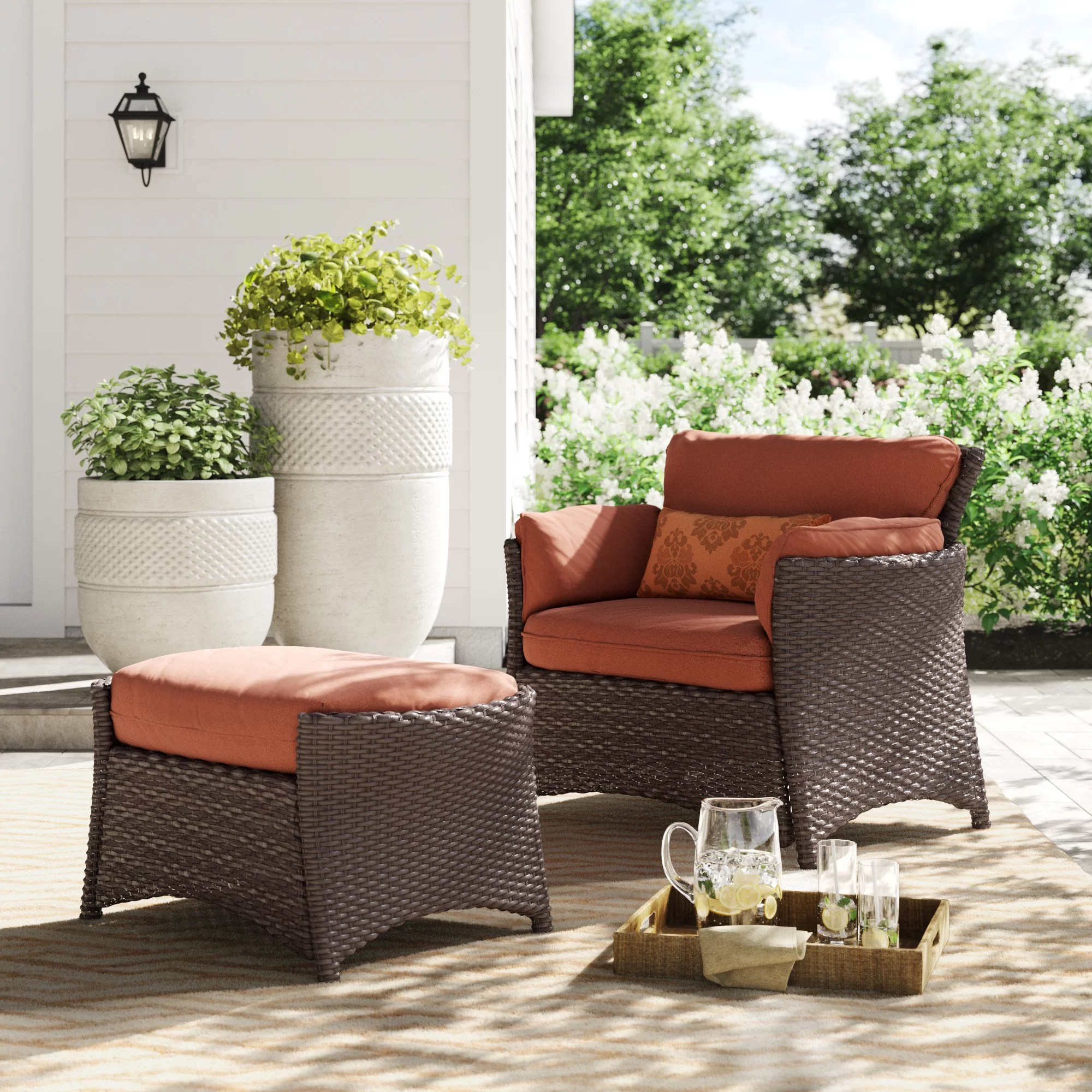 asherman 2 piece deep seating patio chair with cushions and ottoman