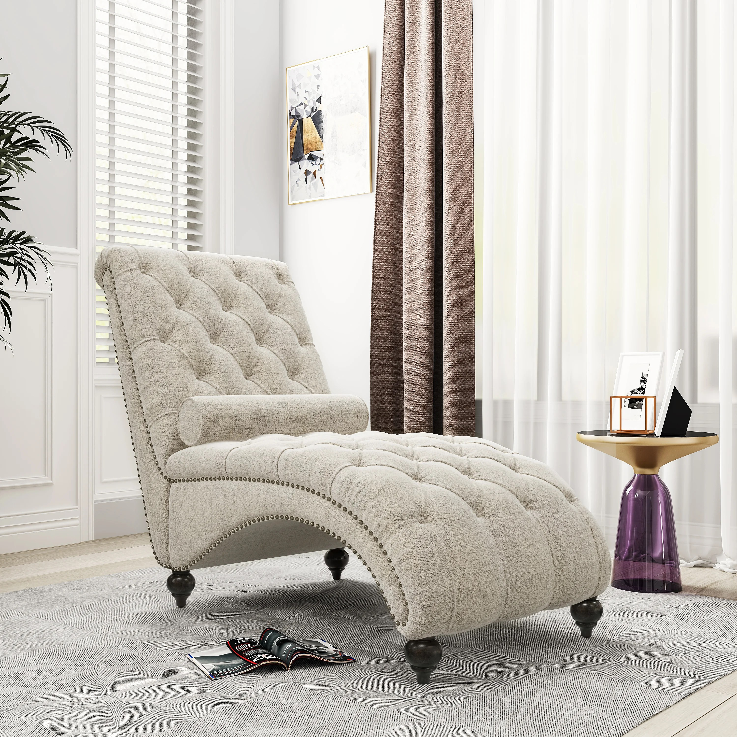 68 linen tufted chaise lounge indoor leisure sofa couch with 1 bolster pillow nailhead trim