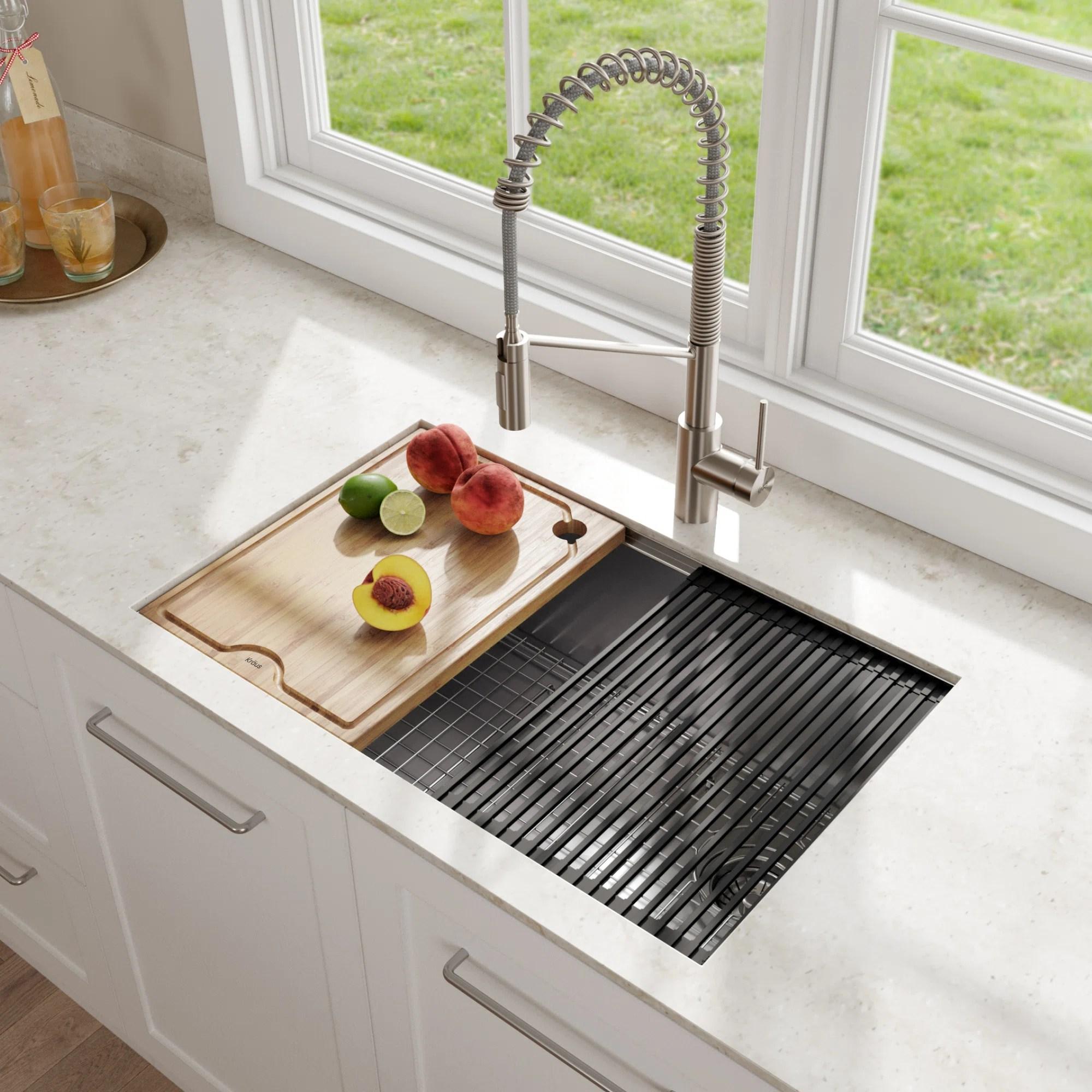 kore workstation 16 gauge stainless steel 27 l x 19 w undermount kitchen sink