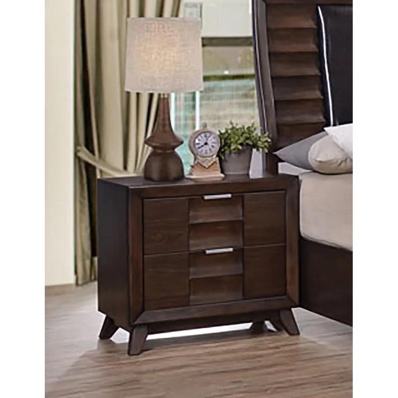 schutt 2 drawer solid wood nightstand in dark walnut