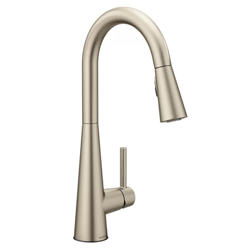 sleek pull down single handle kitchen faucet with power boost technology and duralock