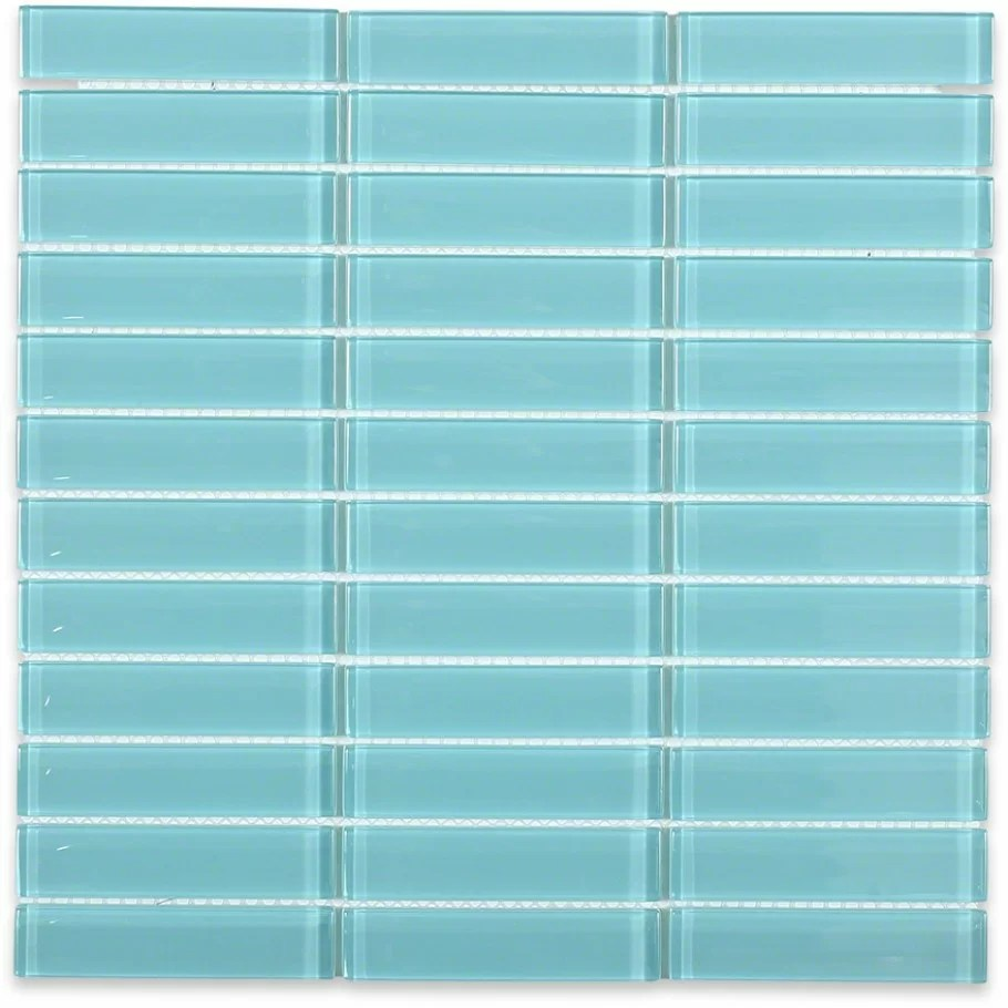 contempo 1 x 4 glass mosaic tile in turquoise