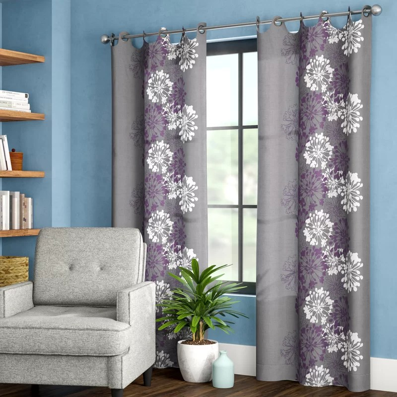 gualtier floral semi sheer grommet curtain panel