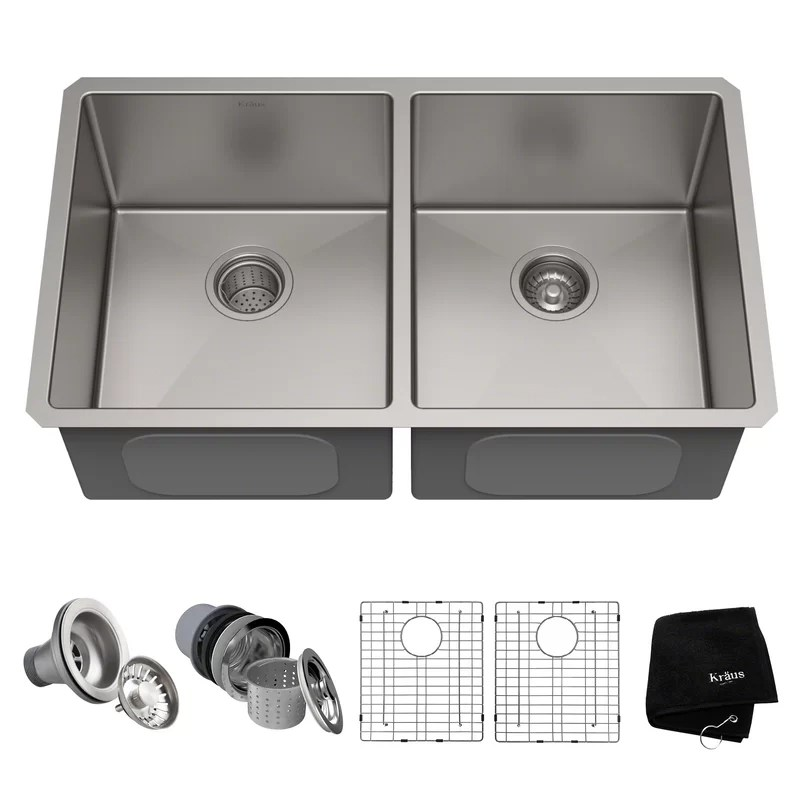 Double Basin Undermount Kitchen Sink with Drain Assembly