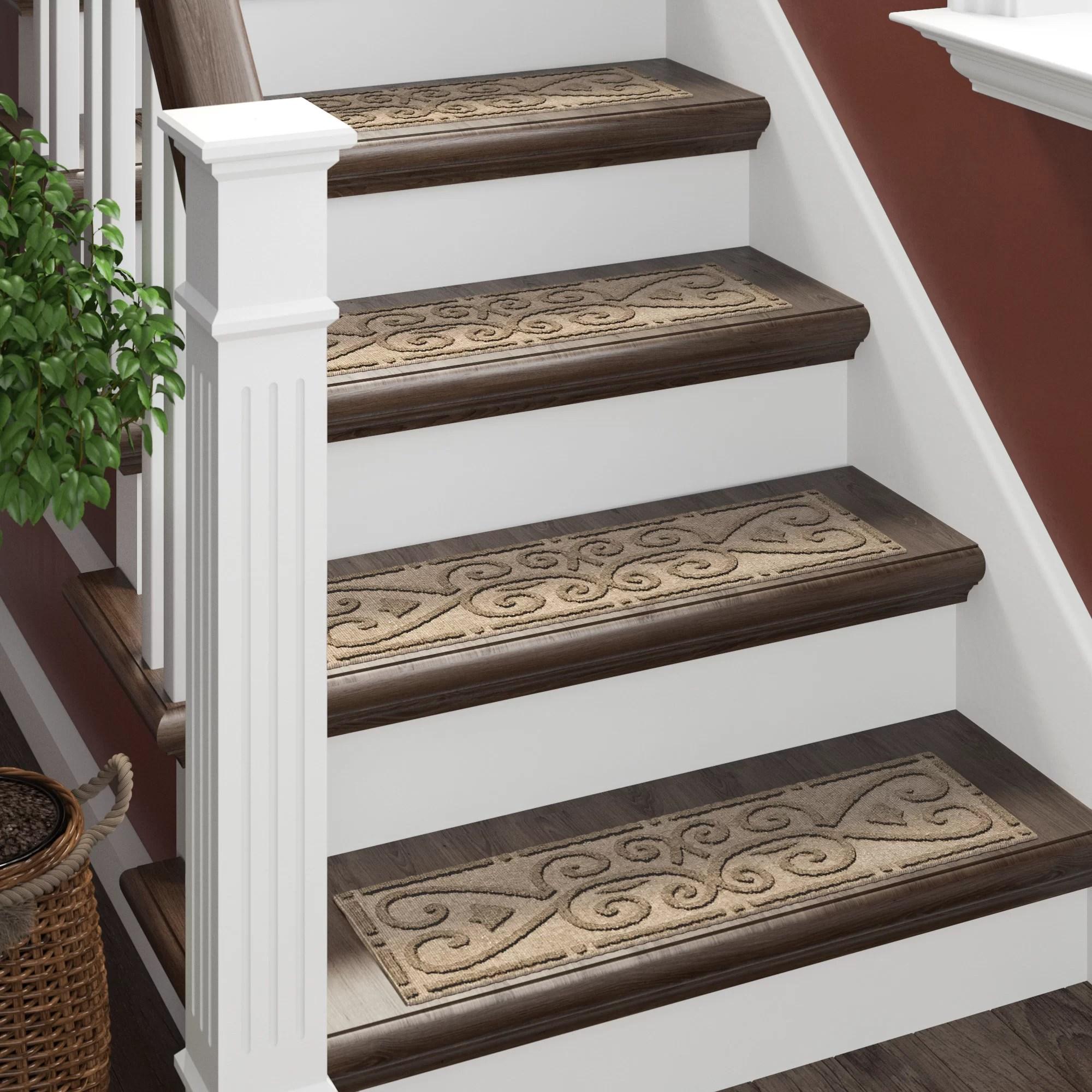 Tucker Murphy™ Pet Beauvais Scroll Stair Tread Reviews Wayfair   Wayfair Stair Tread Rugs   Astoria Grand   Beige Carpet   Lis Living   Bullnose Carpet   Non Slip Stair