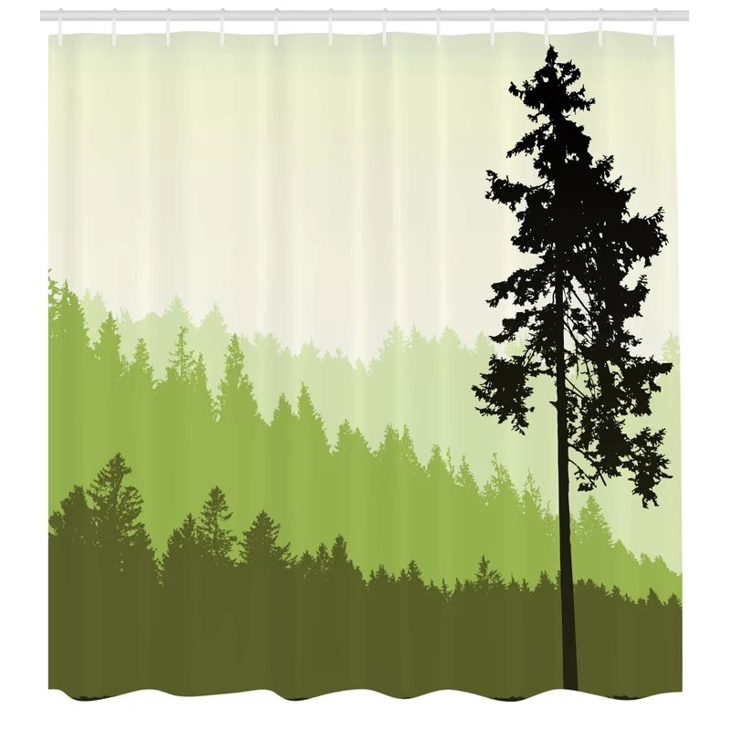 azbane nature theme pine tree silhouette on an abstract background single shower curtain