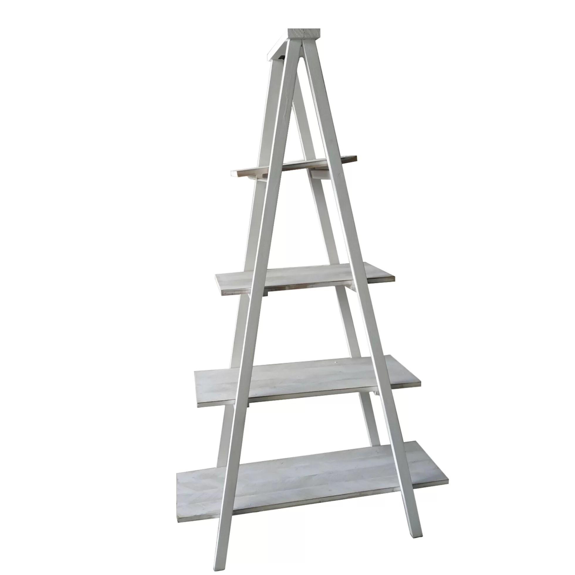 Mohr Ladder Solid Wood Corner Bookcase