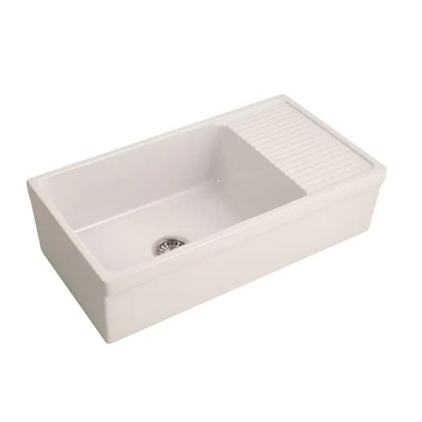 inez 36 l x 20 w farmhouse kitchen sink with drainboard