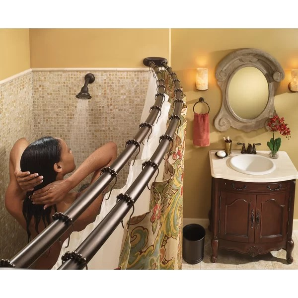 adjustable double curved shower curtain rod