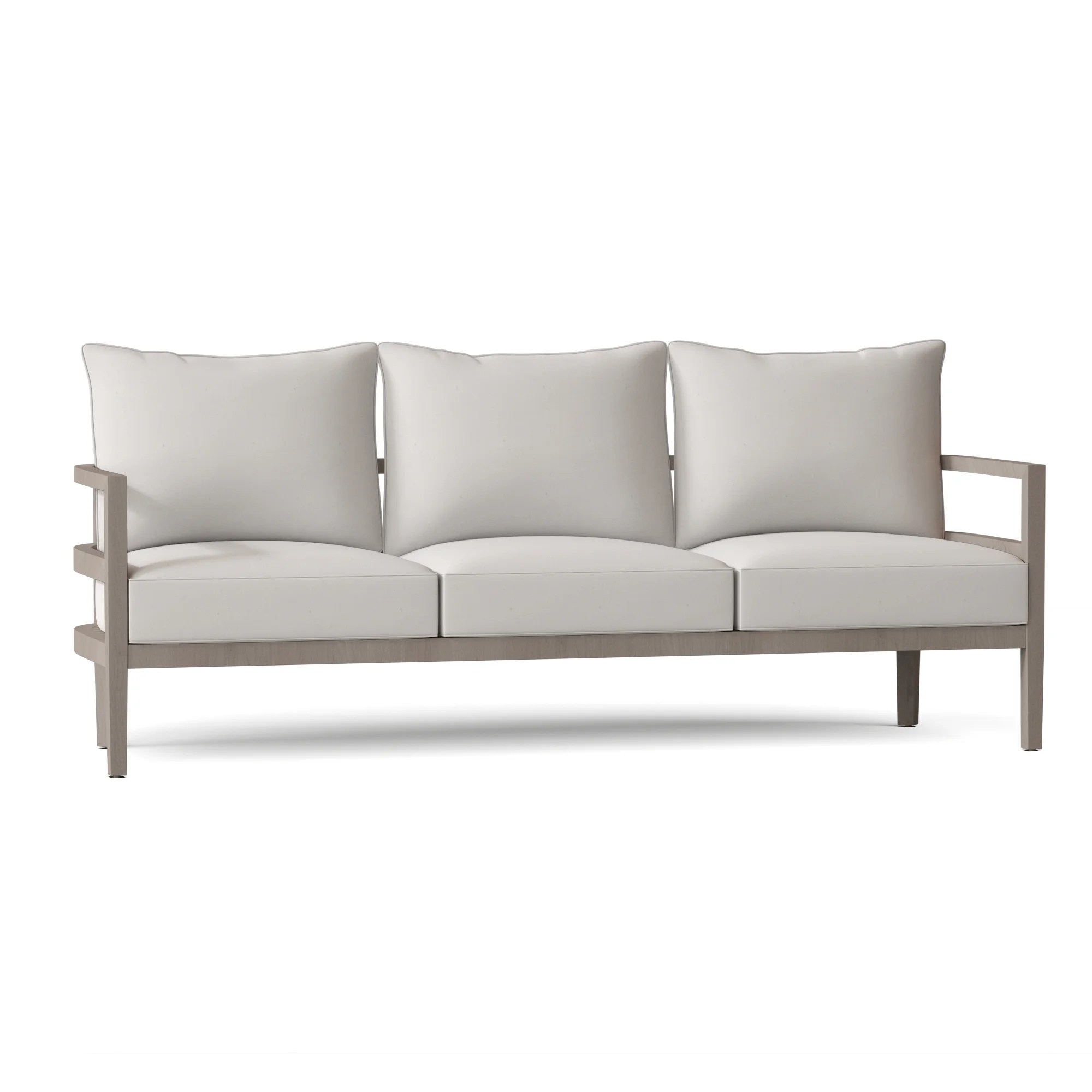 santa barbara 87 wide outdoor teak patio sofa with cushions