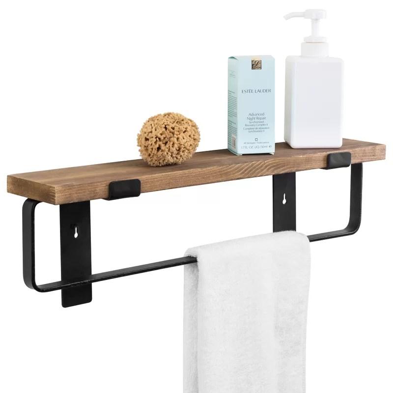 metal and wood wall mounted towel rack