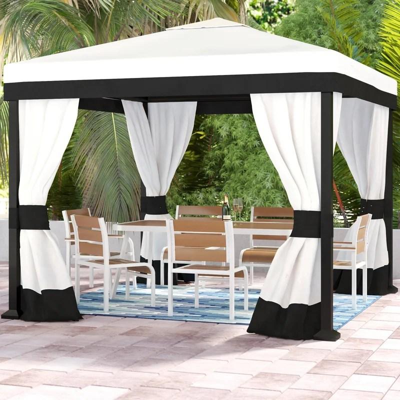 10 ft w x 10 ft d steel patio gazebo