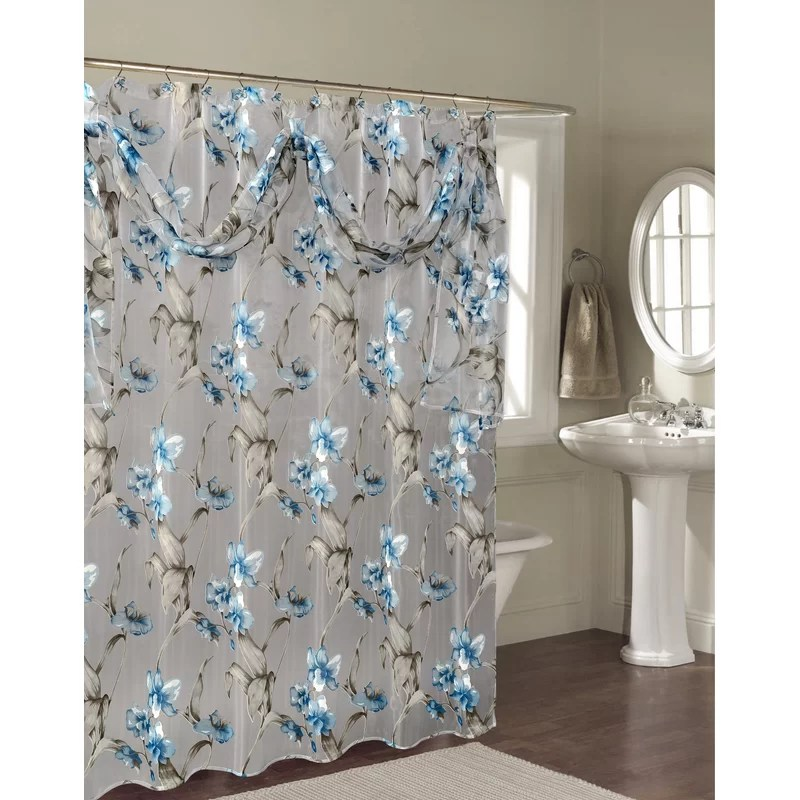 blue and cream shower curtain