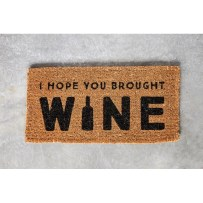 Anjenette I Hope You Brought Wine Natural Coir Door mat