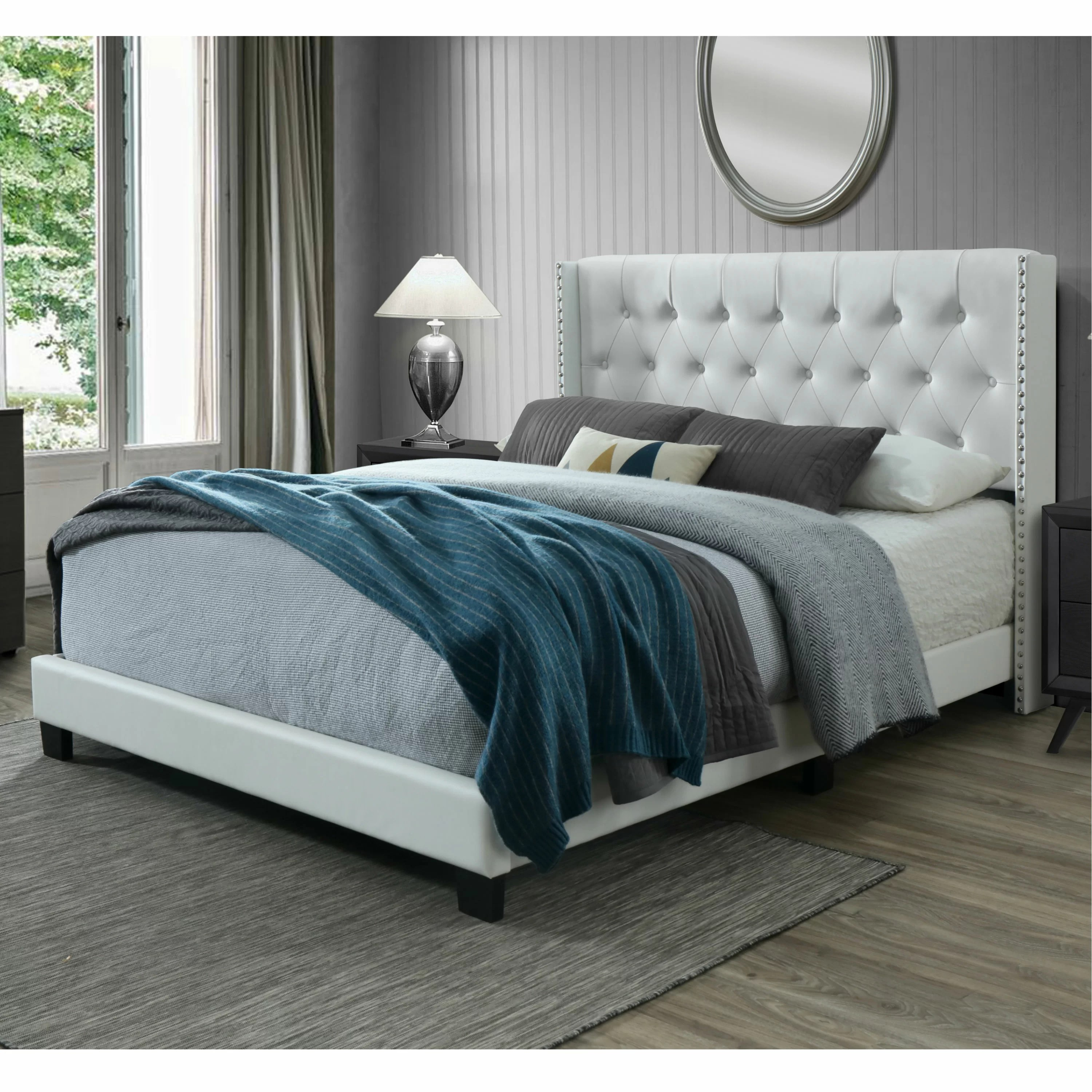 Willa Arlo Interiors Nadine Queen Tufted Upholstered Low Profile Standard Bed Reviews
