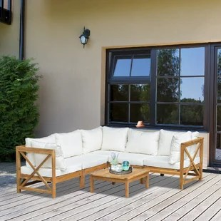 6 piece wooden patio sofa sectional set with modular design coffee table 8 pillows included white