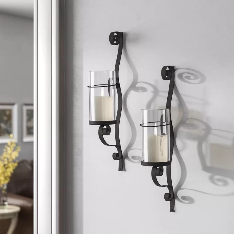Iron and Glass Wall Sconce (Set of 2)