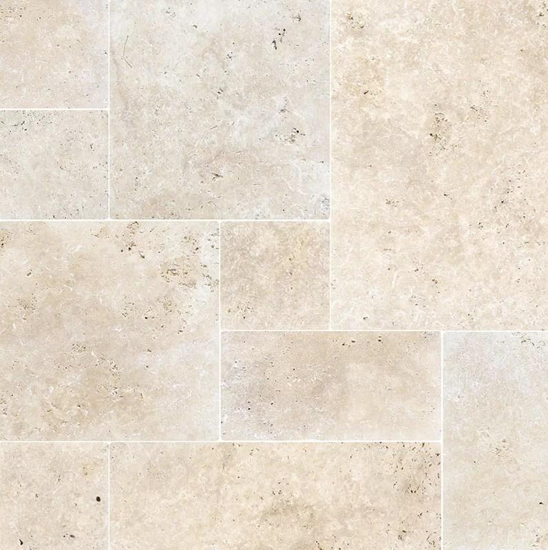 ivory french pattern tumbled 16 x 24 travertine random mosaic wall floor tile