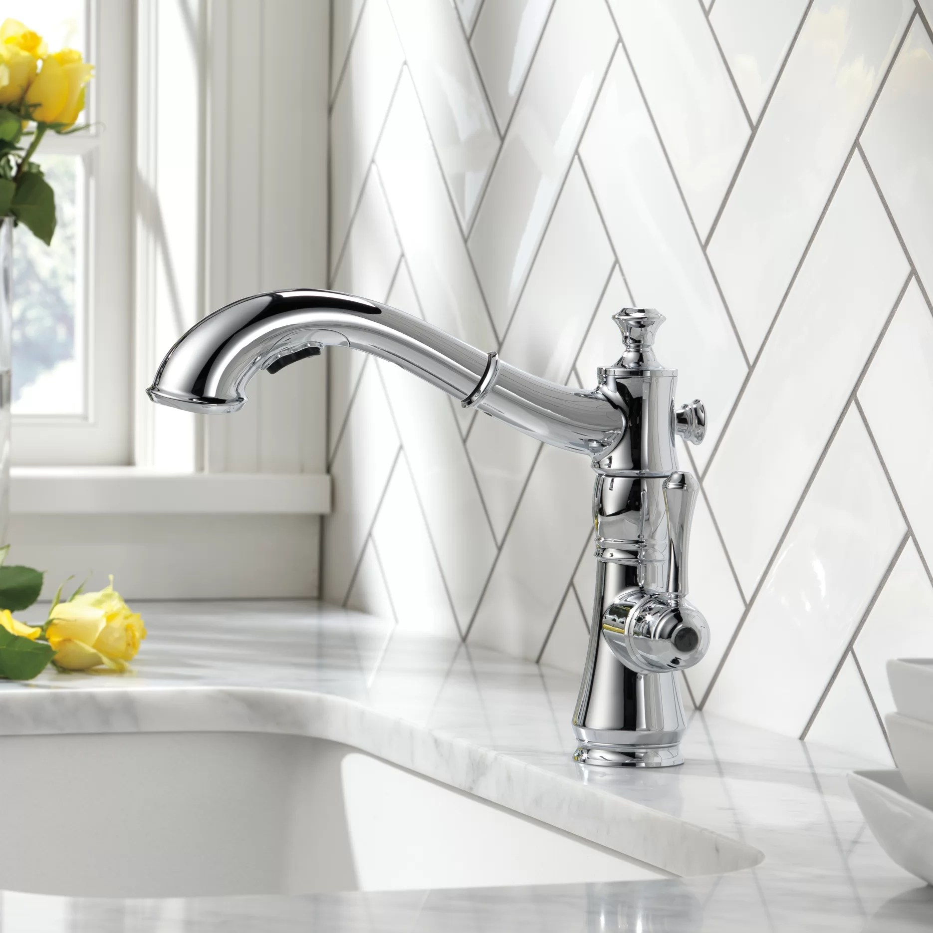 cassidy pull out single handle kitchen faucet with diamond seal technology