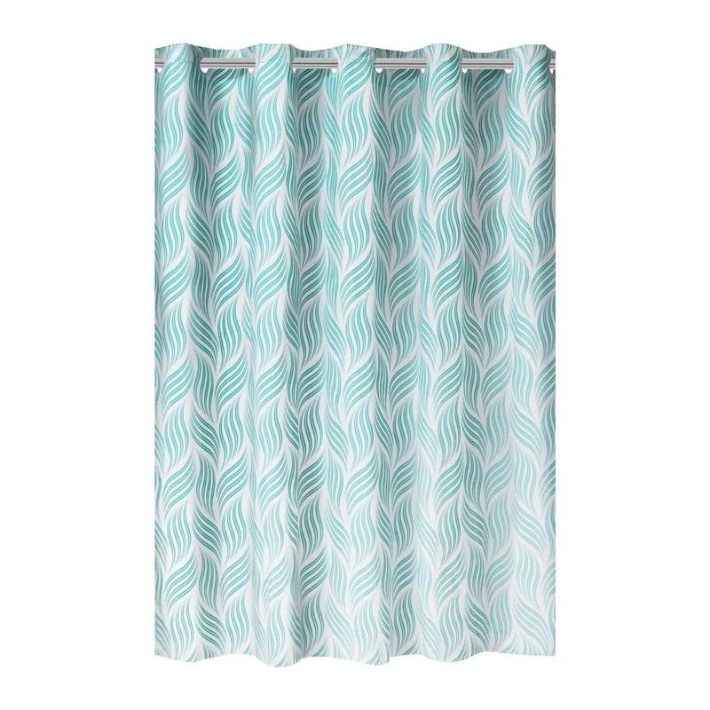 hookless hatchmark print peva shower curtain