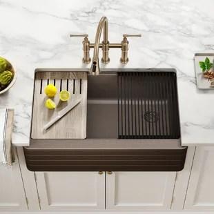 bellucci workstation 33 l x 21 w farmhouse apron kitchen sink